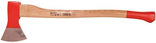 Connex Axt 1250 g - Robuster Stiel aus Eschenholz - Ideale Kraftübertragung - Kopf 3-fach verkeilt - Zur Bearbeitung von Holz / Universalaxt mit Schneidschutz / Spaltaxt / Fällaxt / COX840125