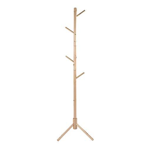 Perchero para abrigo, perchero para piso, estilo árbol, diseño de pie triangular, soporte de madera para sombrero, para la entrada