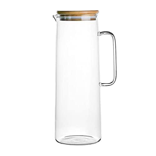 TTCI-RR Jarra de té helado de vidrio frío botella de agua jarra de agua termo transparente grande resistente al calor con asa, jarra de vidrio (capacidad: 1000 ml, color: negro)