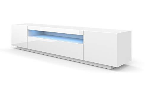 BIM Furniture LOWBOARD 200 cm TV Schrank Solo, Unterschrank mit LED, Fernsehschrank, TV Board, Sideboard RTV, TV Schrank, HiFi-Tisch, LED Beleuchtung Weiß Schwarz Grau Graphit Hochglanz (Weiß)