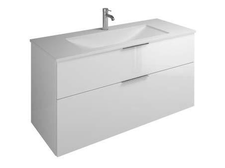 Burgbad Eqio Mineralguss-Waschtisch inklusive Waschtischunterschrank, Breite 1220 mm, SEYU122, Farbe (Front/Korpus): Weiß Hochglanz/Weiß Glänzend, Griff G0146 - SEYU122F2009G0146