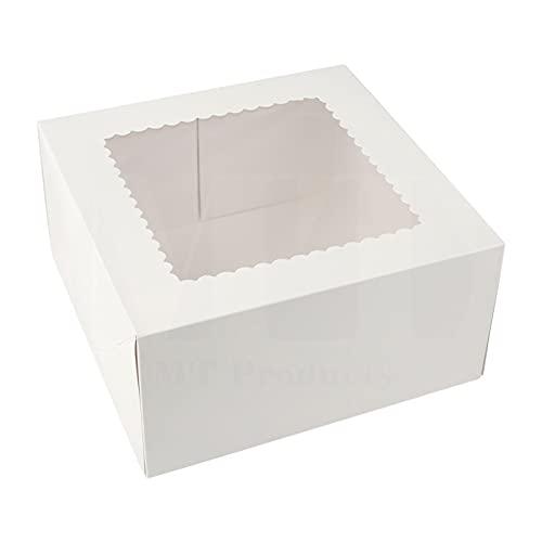 20 cajas de cartón blanco para pastelería, pastelería, panadería, cajas de cartón, panadería, pastelería, decoración de galletas, con ventana, 8/9 pulgadas