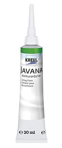 Kreul 815920 - Javana Seidenmalerei Konturenfarbe für Stoffe, 20 ml Tube mit Feinspritzdüse, grün