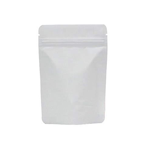 Matt Weiß Wiederverschließbar Geruchssicher Taschen Folien Beutel Druckverschluss Beutel für Verpackungstüte Lebensmittellagerung 50 Stück (16x24cm)