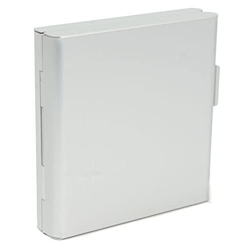 LJC Caja de almacenamiento de aluminio para hombre, con tapa abatible, para 20 cigarrillos, doble cara, funda de cigarrillos, a prueba de humedad y compresiva (color blanco)