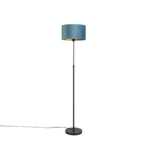 QAZQA Rústico Lámpara de pie negra con pantalla de terciopelo azul con oro 35 cm - Parte Textil/Acero Cilíndra/Alargada/Redonda Adecuado para LED Max. 1 x 60 Watt