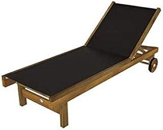 Royal Teak Collection SDB Teak Lounging Sundaze Sling Chair, Black