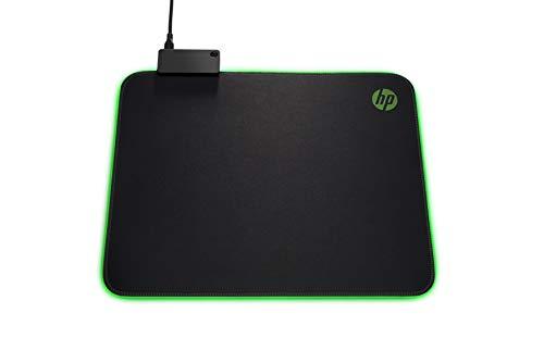 HP Pavilion Gaming 400 Mouse Pad, Passthrough USB Integrato, Antisfilacciamento, Superficie Ampia, Texture Uniforme, LED Personalizzabile, Dimensione 31 x 35.5 x 1.3 cm, Logo HP, Nero/Verde