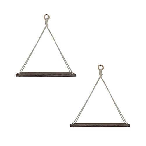 Cozy69 Estantes colgantes de pared, estantes flotantes de madera, estante de cuerda triangular, para decoración rústica, sala de estar, baño, dormitorio, cocina