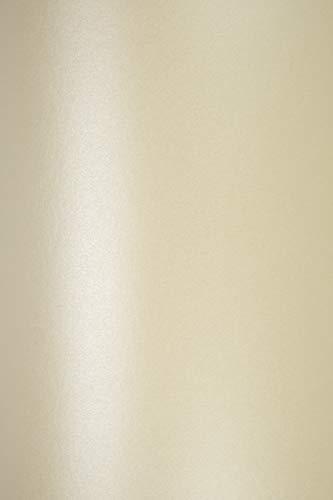 50 Blatt Perlmutt-Creme Papier DIN A5 210×148mm 120g Majestic Candelight Cream Perlglanz-Papier Metallic-Effekt Glanz-Papier cremefarben Perlmutt Papier für Hochzeit Geburtstag Taufe Weihnachten