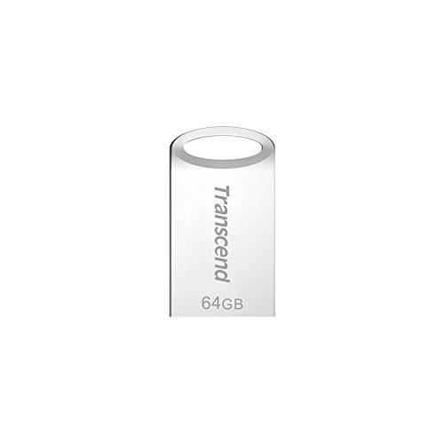 Transcend 64GB kleiner und kompakter USB-Stick 3.1 Gen 1 (für den Schlüsselanhänger) JetFlash silber TS64GJF710S (umweltfreundliche Verpackung)