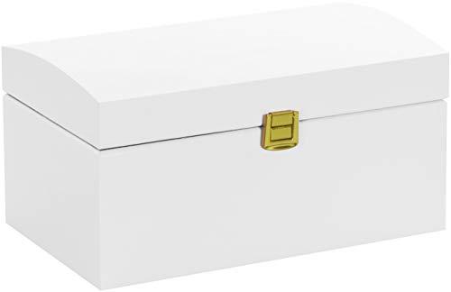 LAUBLUST Große Holztruhe Gewölbter Deckel - 26x16x13cm, Weiß, FSC® | Allzweck-Kiste aus Holz - Aufbewahrungskiste | Deko-Kasten zum Basteln | Erinnerungsbox | Geschenk-Verpackung | Spielzeug-Truhe