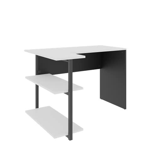 LEVIRA Escritorio con Estantería, Mesa de Escritorio Sieg II, 110 x 81 x 74 - Negro y Blanco