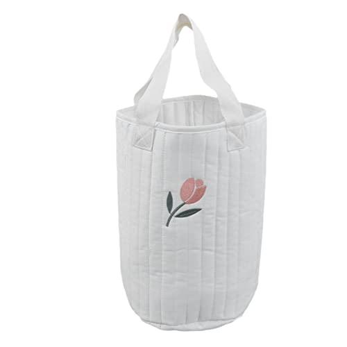 RUIRUIY Bolsa Colgante, Manualidades de Bordado, Organizador para Cuna, Cuna de bebé, Bolsa de Almacenamiento, Bolsa para biberones, pañales, Juguetes para niños(tulipán)