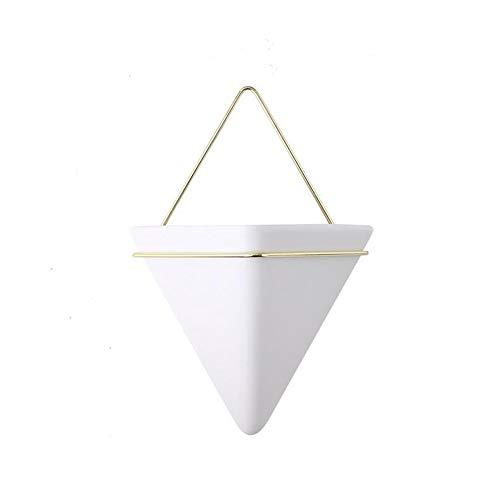 DENOME 1PC Jardinera Triangular Geométricos Jarrón de Jardinera de Pared Plantas de Aire Suculenta de Montado en Cerámica Planta de Aire Contenedores de Plantas Suculentas Decoración (Blanco)