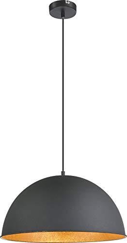 Lámpara de techo retro para comedor, color negro y dorado, lámpara de techo industrial (diseño industrial, lámpara de techo, lámpara de cocina, 41 cm, altura 120 cm)