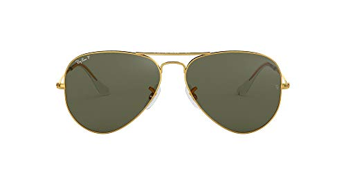 RB3025 Aviator Classic Polarized Sunglasses, Gold/Green Polarized, 58 mm