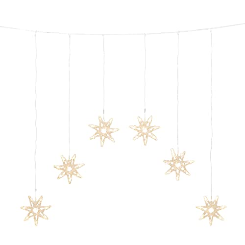 Konstsmide Christmas LED Star Light Curtain/Outdoor or Indoor (IP44) / 48 Warm White Diodes/Transparent Cable