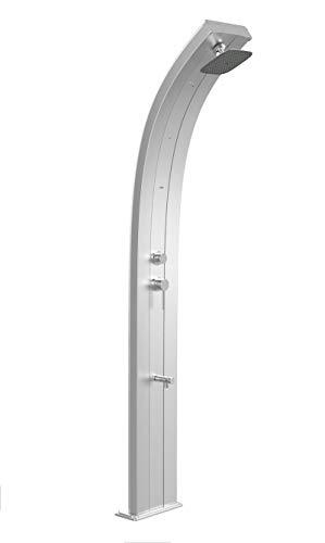 Arkema Dada Solardusche Aluminium eloxiert Edelstahl Gartendusche mit Kaltwasser-Mischarmatur Nebulisator und 40 Liter Tank Höhe 225 cm