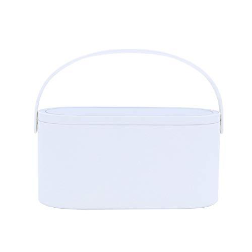 Make-up Spiegelbox Mehrzweck tragbare Aufbewahrungstasche LED beleuchtete Spiegelabdeckung, Reisetaschen, Aufladen für längere Nutzung,Weiß
