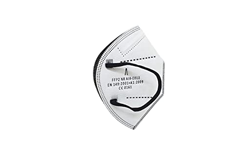 A AIRNATECH Mascarilla Protectora FFP2 NR Blanca y Negra (Diamond) - 10 Unidades - Fabricada en España - Certificado CE 0161 EN149:2001+A1:2009. 5 capas Spundbond, Melt-blown, High Fiber Cotton