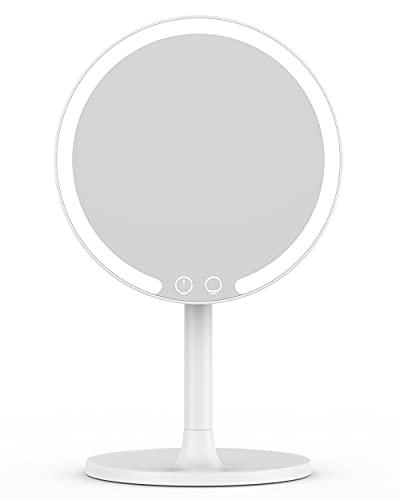 EASEHOLD Miroir Lumineux Maquillage Rechargeable Miroir de Table Miroir Cosmétique Eclairée Comptoir Amovible 3 Modes Effets 1X 42LEDs - Blanc