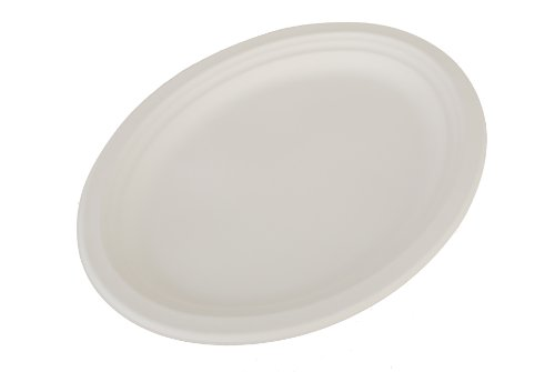 """Southern Champion Tray 18560 ChampWare Molded Fiber White Heavy Weight Pulp Platter, 12-1/2"""" L x 10"""" W (Case of 500)"""