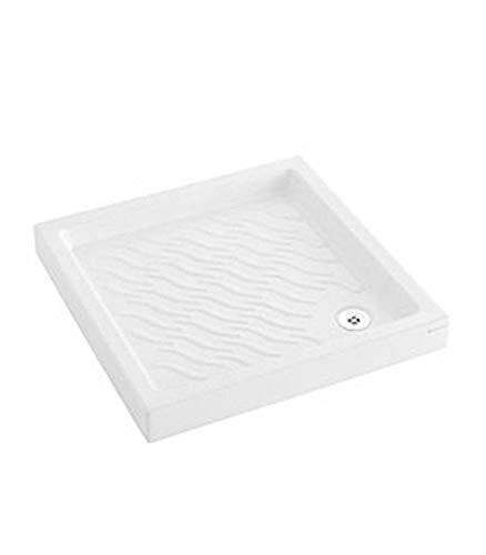 Pozzi Ginori - Piatto Doccia in Ceramica Antisdrucciolo, Naviglio 80x80, Bianco, A Magazzino
