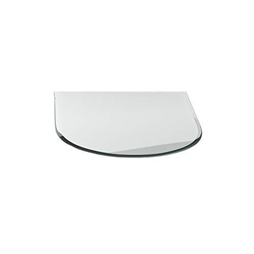 Kaminglas G25 Rundbogen ESG 6mm x 850mm x 1100mm mit 18mm Facette Glasplatte Bodenplatte Kaminplatte Funkenschutz Ofenplatte Funkenschutzplatte