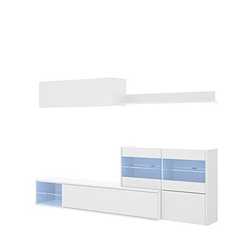 Mueble de salón Modular de diseño Moderno con Luces led UMA de 260 cm (Blanco Brillo)