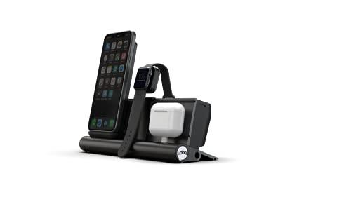udoq Estación de carga para iPhone AirPods y Watch, diseño de alta calidad, 4 mm, aluminio, cargador inalámbrico y cable, color gris oscuro