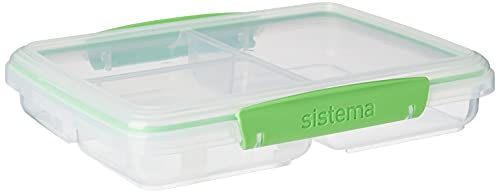 Sistema To Go - Recipiente para almacenar alimentos (820 ml), transparente con clips de colores, transparente