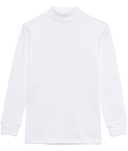 Camiseta termica Interior Niños Cuello Medio Alto Semi Cisne Manga Larga Colores Lisos (Blanco, 12 años)