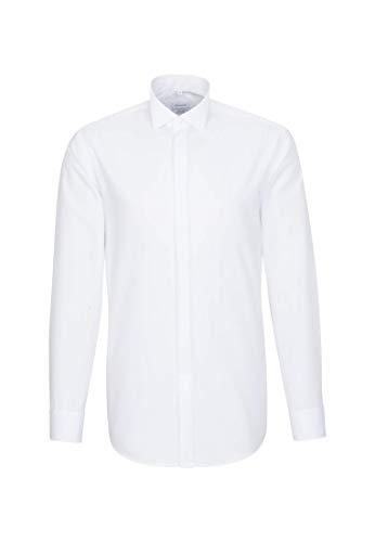 Seidensticker Herren Smoking Hemd, Weiß (01 weiß), 42