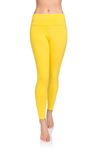 Soft Sail Damen Leggings, hohe Taille, Bauchkontrolle, weiche Baumwolle Gr. 40, gelb