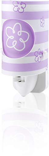Dalber 63191L Dream Light, Luz nocturna Flor morada, bombilla LED incluida, Clase de eficiencia energética A++