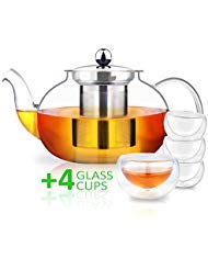 AckMond 27 Ounce / 800 ml Clear Glass Teapot with 4 Elegant Glass Cups, Stainless Steel Infuser & Lid, Borosilicate Glass Tea Pots
