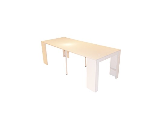 Goomy Console Table de Repas Extensible Rectangulaire avec Rallonges pour Salle à Manger et Séjour Blanc 50-223 x 90 x 75 cm