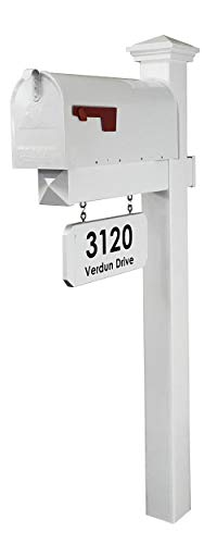 4Ever Products The Jackson Complete Mailbox System - Vinyl/PVC Post (Includes Mailbox) Decorative Curbside Postal Solution with Classic Traditional Style and Hanging Address Plate (White Mailbox)