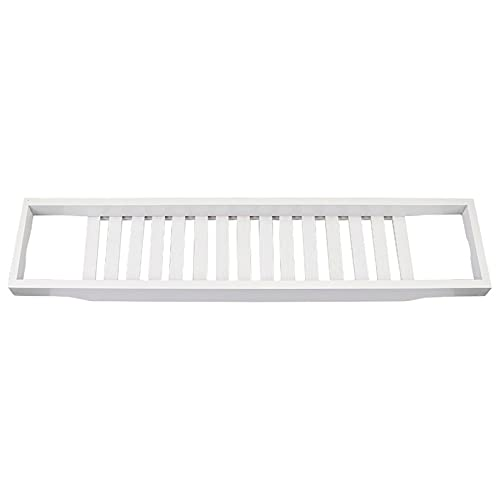 Wede Bañera Premium Bandeja Baño Puente Baño Tablero Estante De Almacenamiento Rack Organizador Almacenamiento Caddy Organizer Todos Los Accesorios De Baño(Color:Blanco)