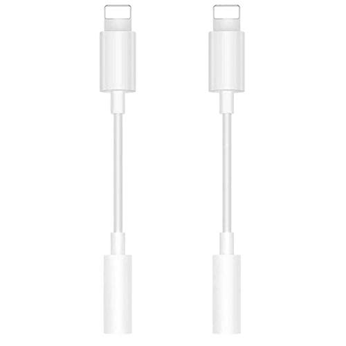 [Apple MFi Certified] 2 Pack Lightning to 3.5 mm Headphone Jack Adapter,3.5 mm Headphone Stereo Connector Compatible for iPhone 11/11 Pro/XS/XR/X 8 7/6 Plus,Support iOS 13
