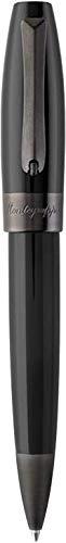 MONTEGRAPPA Collezione FORTUNA Penna Sfera a Rotazione, placcata Rutenio & Nero Design Classico Raffinato Linea Elegante Comoda all'uso