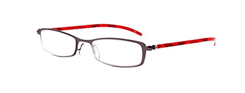 Rainbow safety Gafas de Lectura Mujer Hombre Marco Metal los Vidrios de la Lectura Lezar MC2107 Rojo +3.00D