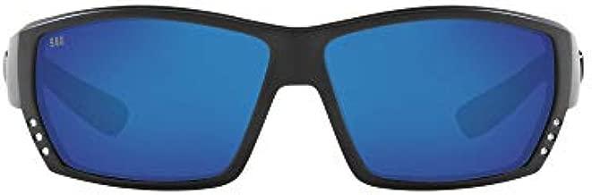 Costa Del Mar Men's Tuna Alley 580G Polarized Rectangular Sunglasses, Blackout/Grey Blue Mirrored Polarized-580G, 62 mm