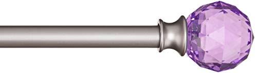 AmazonBasics - Dekorative Gardinenstange, 1,6 cm, Facettierter Ball-Knauf - 122 cm, Violett