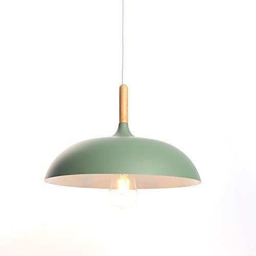 Luz Colgante Lámpara de Techo LED Lámpara Moderno Industrial E27 Luz de Comedor Luz Vintage para Sala Bar Decoración Restaurante Interior, Color Verde