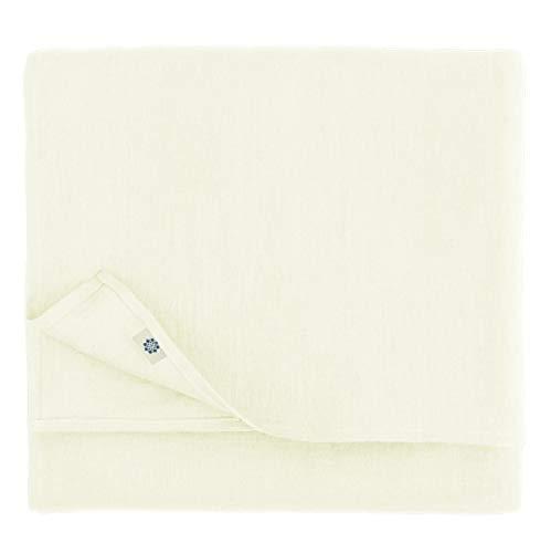 Linen & Cotton Mantel de Mesa de Centro Paño de Mesa Decoración de Comedor Hygge - 100% Lino, Blanco (140 x 140 cm) Cubierta de Mesa Cuadrada Pequeña para Cocina Cena Familiar Navidad