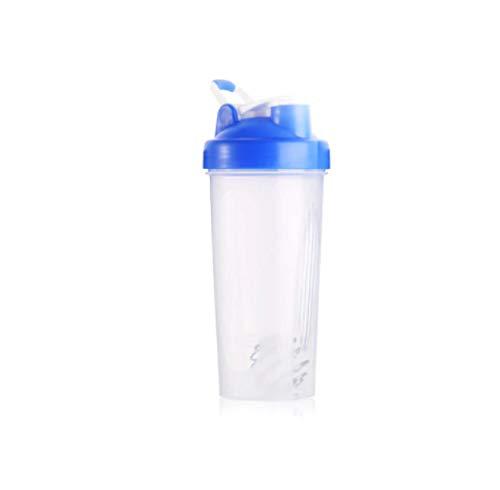 Botella de Agua Itness de 600 ml Botella coctelera Creativa Botella de Mezcla de Polvo de proteína de suero Deportivo con Bola agitadora Azul Libre de BPA