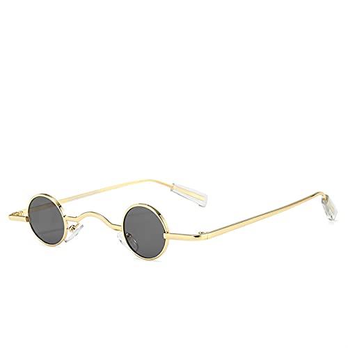 Gafas de Sol pequeñas Rojas Redondas Retro Metal Marco Negro Hombres Punk Sol Gafas Mujeres UV400 Decoración Gafas Gafas de Sol (Frame Color : As Show in Photo, Lenses Color : Gold F Gray)