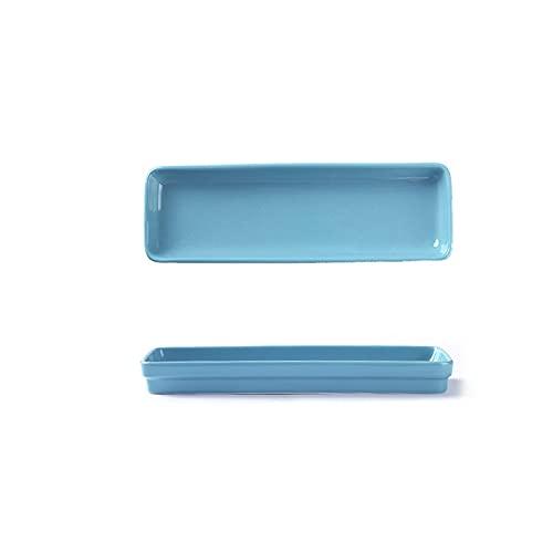 Vajilla de cerámica rectangular creativo hogar sushi comida occidental dim sum placa bocado placa plana cocina accesorios (Color : Blue)